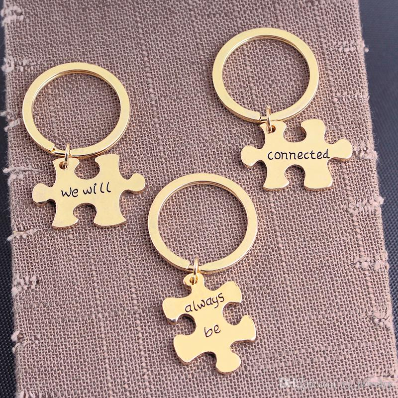 We Will Always Be Connected Keychain Set, Necklace Set, Best Friends Jewelry, Gift for Sisters