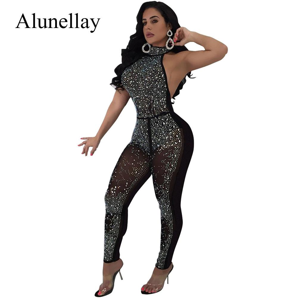 936f98b260 2019 Alunellay Women Diamond Sexy Halter Jumpsuit Woman Black Backless  Sleeveless Nightclub Bodycon Jumpsuit Romper Autumn Summer From Vikey06