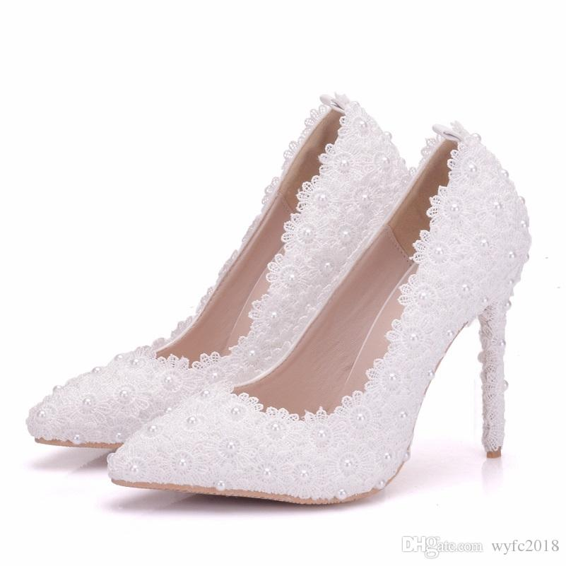Flower Women Pumps High Heels Lace Platform Pearls rhinestone Wedding Shoes Bride Dress Shoes 11cm height Price: