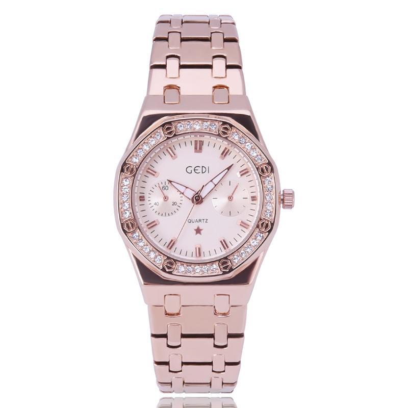 f895fa7756c Compre Nova Marca Mulheres Relógio De Luxo De Ouro Rosa Relógios De Aço  Inoxidável Diamantes De Quartzo Japão Movimento Relógios De Pulso Presentes  Relogio ...