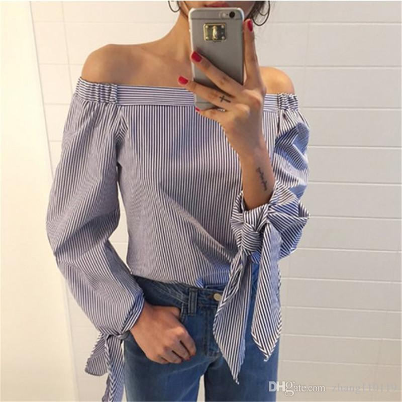 a032c834c863c 2019 Plus Size Blusas Women Sexy Off Shoulder Blouse 2018 Spring Autumn New  Bowknot Long Sleeve Black White Striped Casual Tops Shirt From Zhang110119