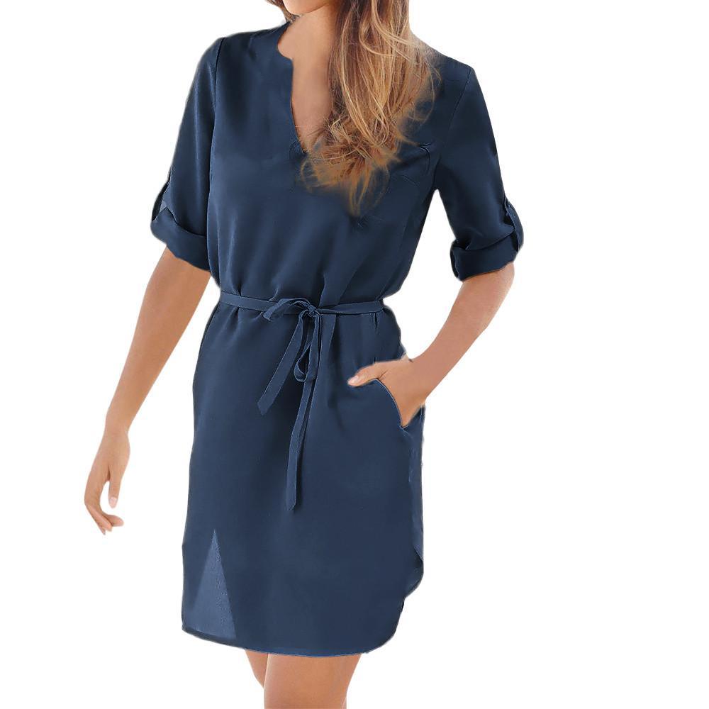 872feb74dccf 2019 nuevas mujeres creativas vestido de verano para mujer casual solid 1/2  manga con cuello en V con cordones bolsillo irregular dobladillo vestidos  ...