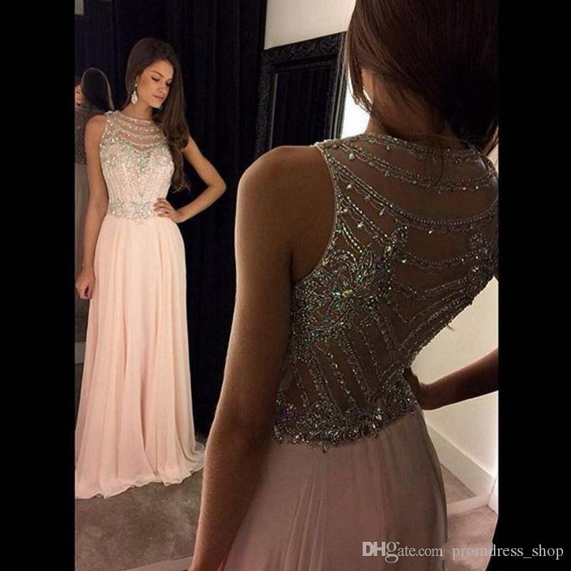 e6b42a41ce 2019 Pink Flow Chiffon Sexy Back Evening Dresses Sheer Crew Neck Beaded  Crystals Sleeveless A Line Long Prom Party Summer Dresses Prom Dress Outlet  Prom ...