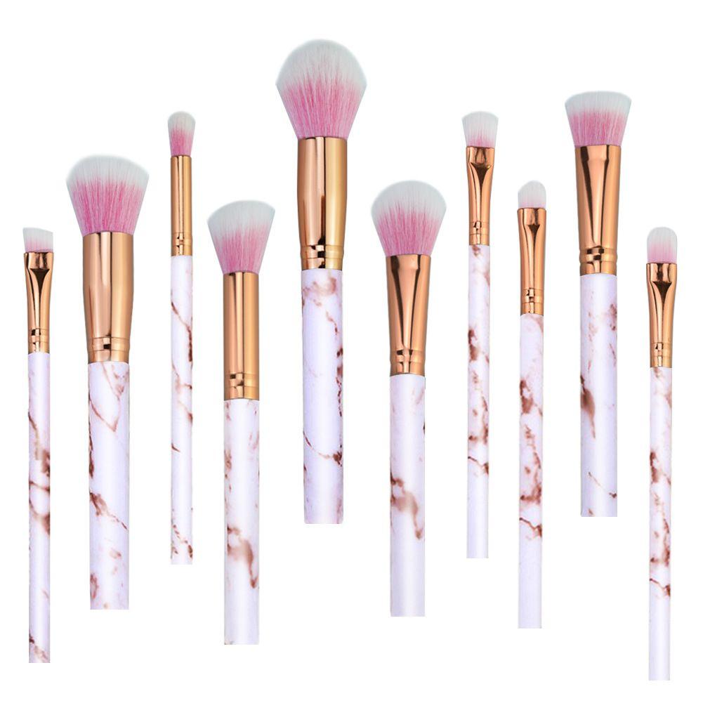 Spazzole Kabuki 10 Pz / set Pennelli Trucco Professionale Marbling Maniglia Ombretto Sopracciglio Labbro Make Up Pennello Comestic Strumento