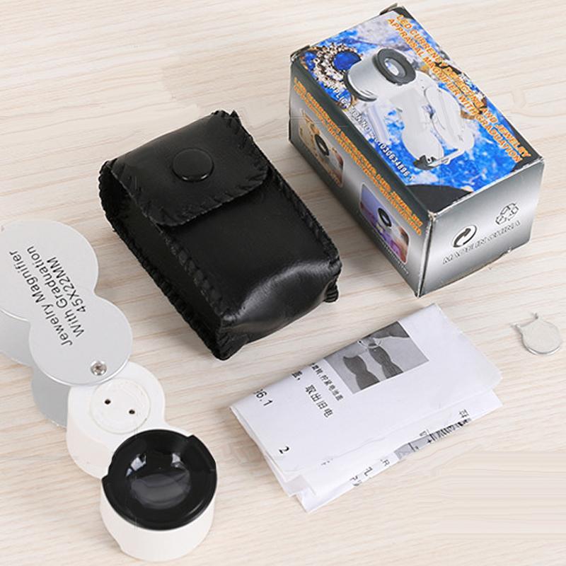 De D'identification 45x Uv Mains Bijoux Microscope Contrefaçon Lunettes Échelle Avec Led Loupe Lumière Type Horloger PZTOXiuk
