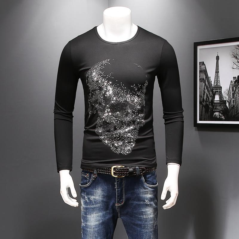 b7e9d558a9fa European Station Long Sleeve T-shirt Man Style Autumn Youth Round Collar  Printed Skulls T Shirts Plus Size 5XL High Quality