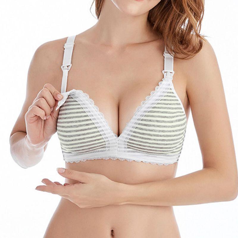 0e94116264464 2019 Stripe Nursing Bra Pregnancy Clothes Cotton Pregnant Women Breastfeeding  Bra Underwear Clothing Ropa Lactancia Maternity Clothes From Orchidor