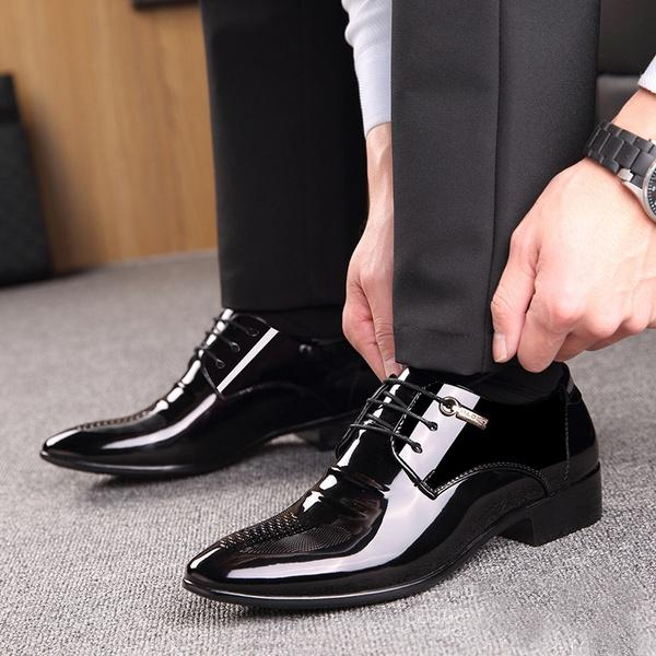 Mens Work Business Casual Leather Shoes Smart Dress Formal Wedding