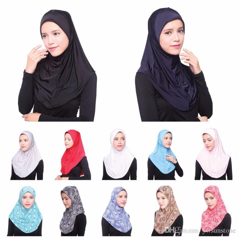 Women Full Cover Inner Hijab Cap Ice Silk Headband Scarf Arabian ... 7e95f56725b