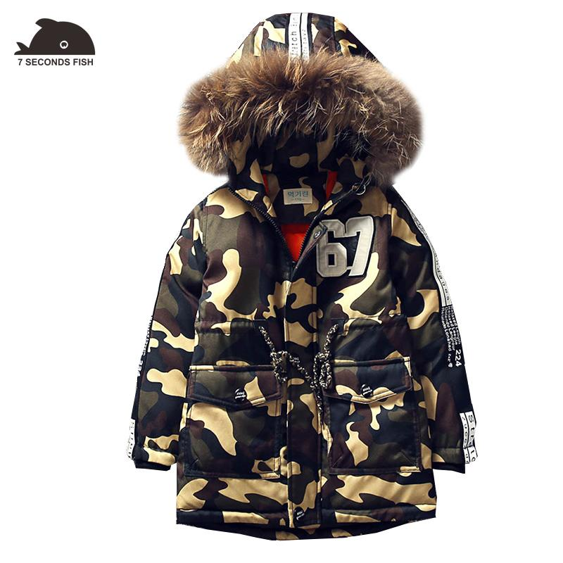 aee24050c Hot New Boy Coat Outwear Children Winter 2018 Boys Coat Fur Hood ...