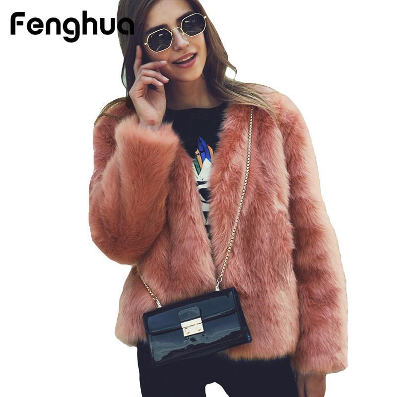 caa00eda 2019 Fenghua Women Short Faux Fox Fur Coat 2018 Fashion Winter Faux Fur  Jacket Hairy Casual Overcoat Loose Long Sleeve Warm Outerwear From Peay, ...
