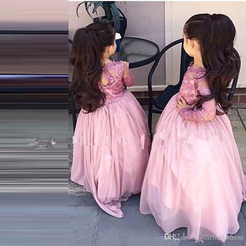 2018 Nuevos apliques de encaje con cuello joya A-Line Vestidos de niña de flores Primera comunión Vestido de manga larga Nuevas niñas Vestidos de desfile para la boda