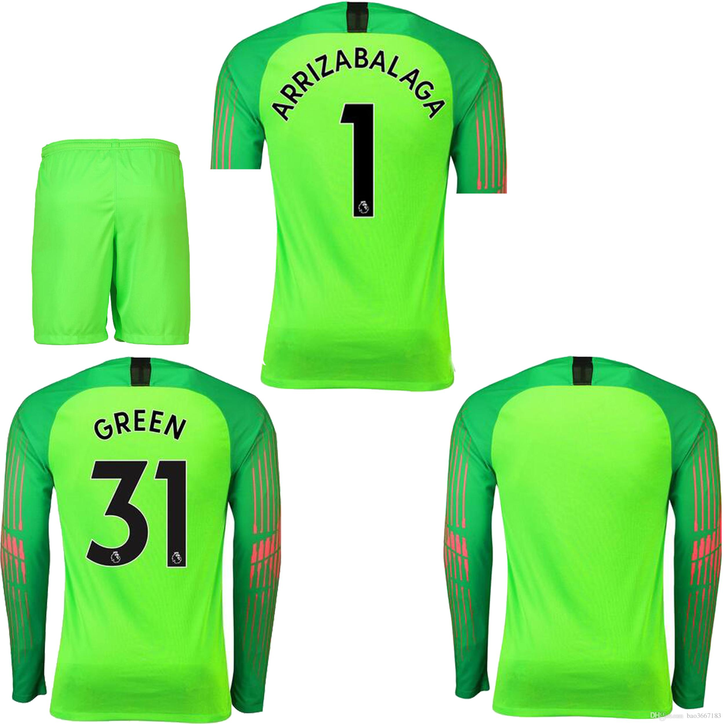 Compre AAA Calidad Tailandesa 2018 2019 Camiseta De Portero De Manga Larga  2018 ARRIZABALAGA VERDE Camiseta Del Estadio De Portero 2018 19 A  18.52  Del ... 3eaabc4e48dd7