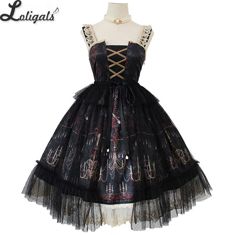 4ab84f134 Chandelier Printed Gothic Lolita JSK Dress Sleeveless Halloween Midi ...