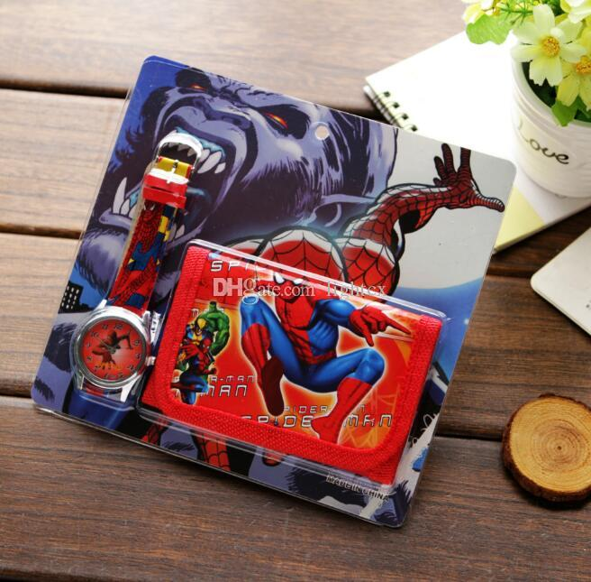 Hot Selling Fashion 3D Cartoon Spiderman Watches For Boys Students Birthday Gifts Clock Car Princess Leather Quartz Watch With Wallet Wrist Buy Online