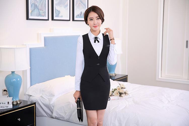 2018 Moda iş kariyer bayanlar yelek iş elbisesi üniformaları Ince V Yaka Resmi vestidos kadın ofis yelekler Siyah artı boyutu S-4XL
