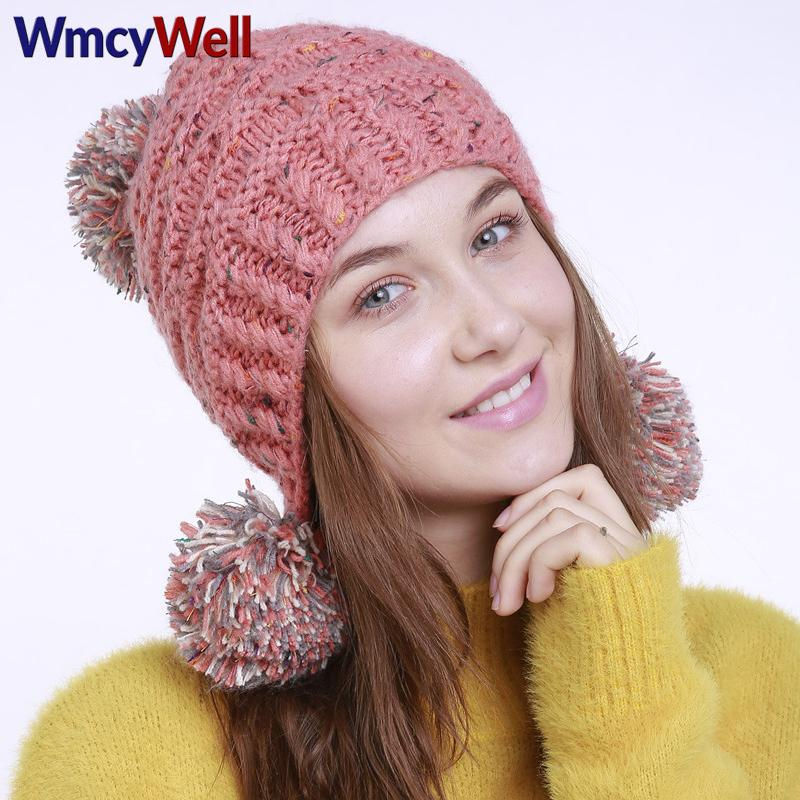 c0d0a5b183b WmcyWell Winter Fall Womens Beanie Hats Fashion Caps Keep Warm Ski Hat  Knitted Plus Mixed Colour Ear Bonnet Femme Pom Pom Hat Beanie Hat Sun Hats  From ...