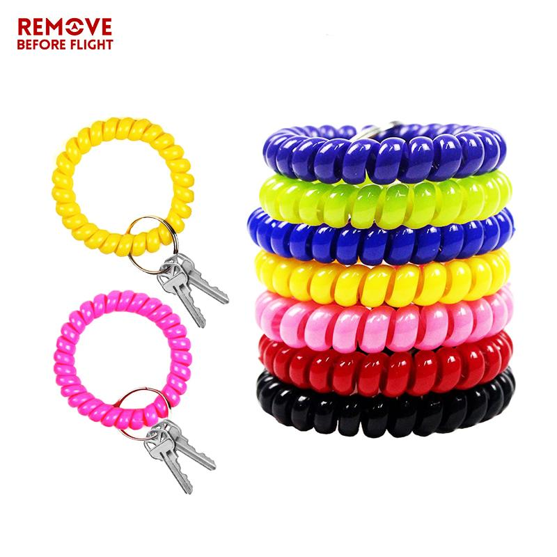 Fashion Multifunctional Coil Bracelet Keychain Holder Coil Spring Chains Jewelry Hair Cable Sauna Beach Keyring Bracelets