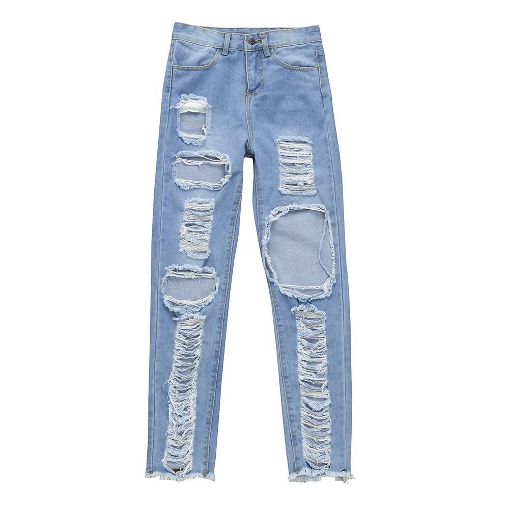 Compre 2018 Nuevas Mujeres De Moda Destruido Rasgado Delgado Pantalones De Mezclilla  Apenado Pitillo Jeans Agujeros Roto Pantalones De Mezclilla Agujero ... 0e988eb42b06