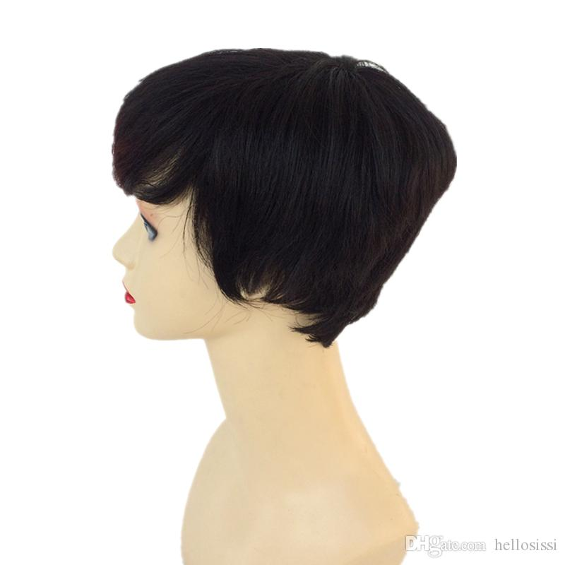 Machine Made Wigs Two Tone T1B/BUG Brazilian Virgin Hair Short Human Hair Wigs For Black Women