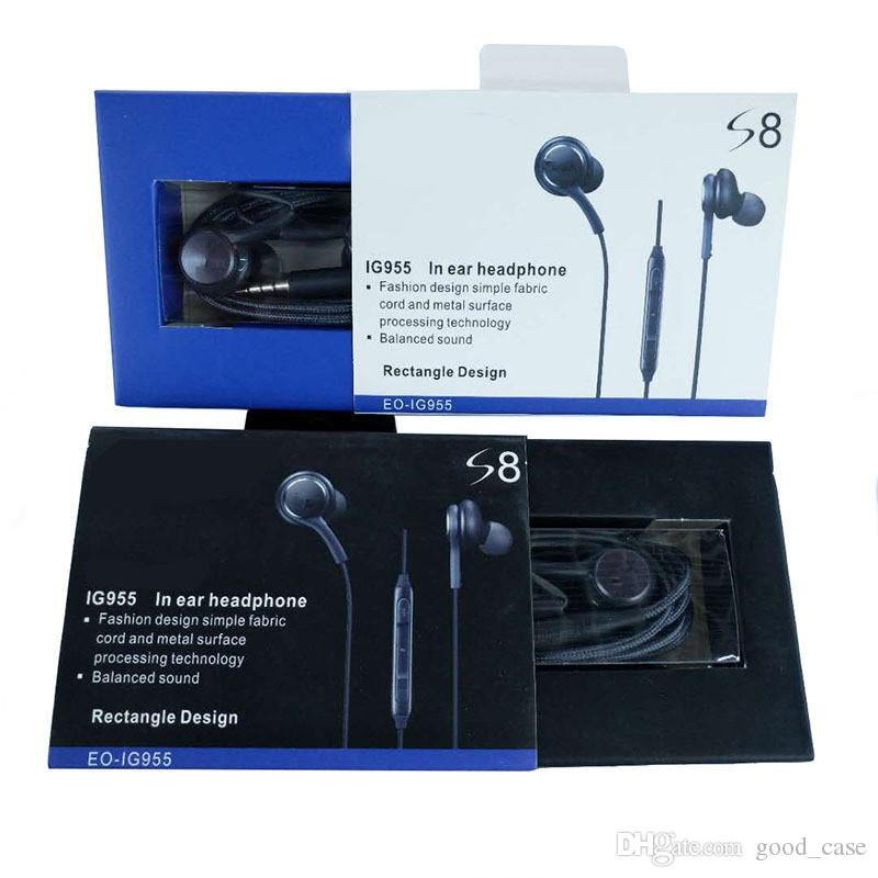 Para s8 auriculares de alta calidad auriculares auriculares para samsung galaxy s7 s6 s8 más 3.5 mm para auriculares en la oreja auriculares con micrófono control de volumen