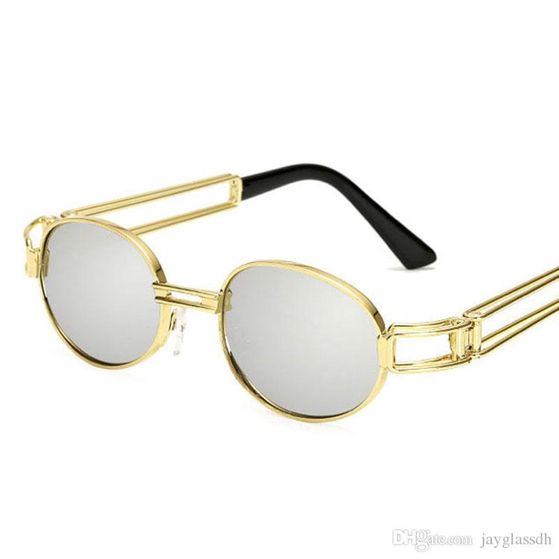 4e421400bc1 Retro Small Round Sunglasses Men Male Vintage Steampunk Sunglass ...
