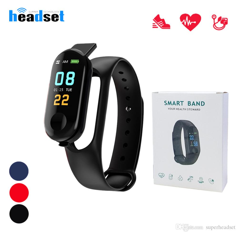 M3 plus Smart Wristband band Fitness Bracelet Big Touch Screen Reminder  Heart Rate Tracker Smart Band Watch For Android IOS