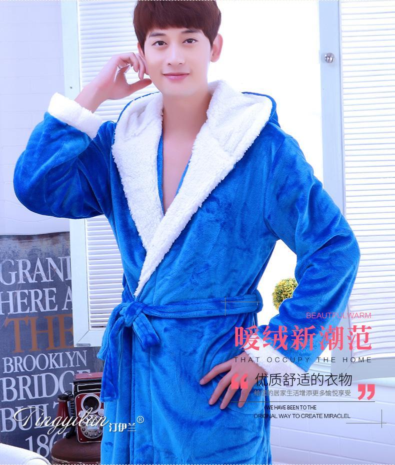 05c396287c Male Winter Flannel Bathrobe Sleepwear Thicking Mens Warm SPA Bathrobe  Pajamas Male Long Sleeve Belt Solid Soft Homewear D-2096 Robes Cheap Robes  Male ...