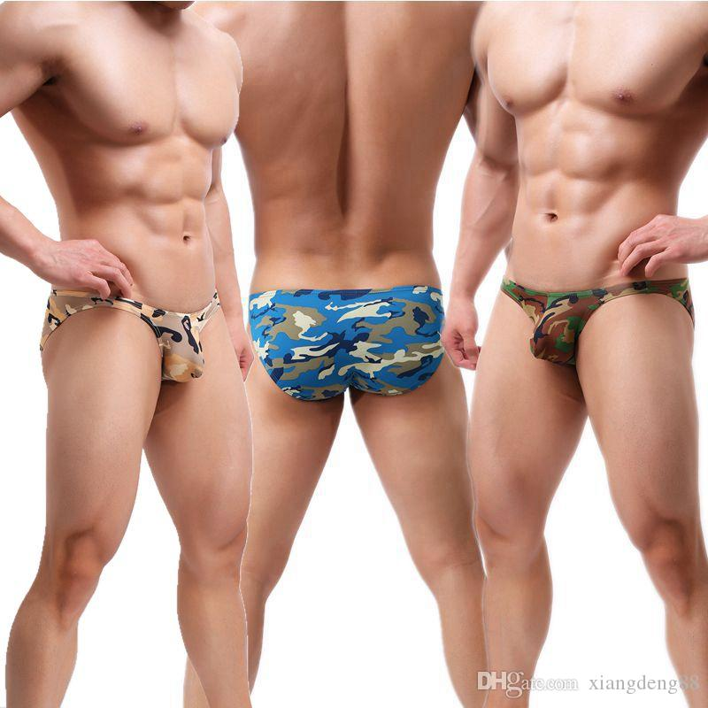 a9195912b26 Men s Basic Underwear Mini Bikini Briefs Sexy Camouflage Low Rise  Underpants Bulge Pouch Jockstrap Camo Panties
