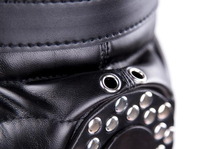 Bdsm Fetish Sex Leather Hood Mask Headgear Bondage Slave Restraint Lockable Flirting Toys In Adult Games For Couples - Black