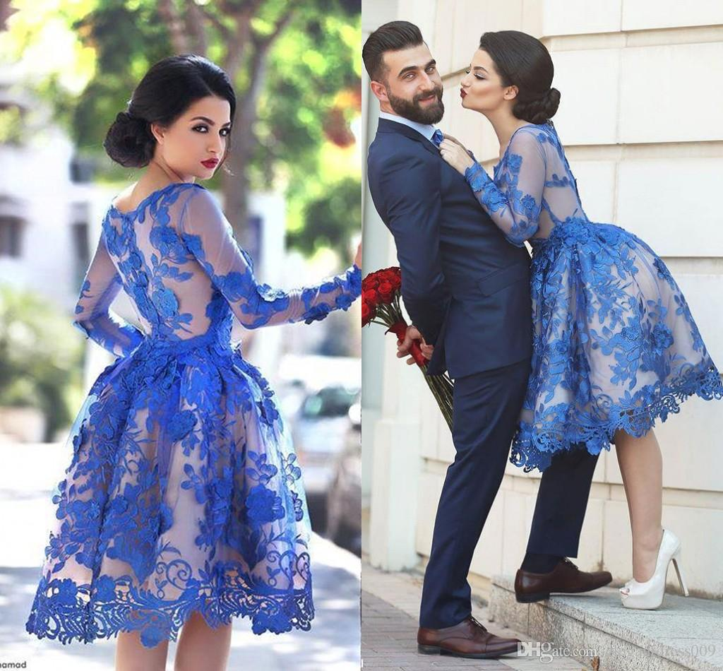 New Design Royal Blue 2018 Lace Short Cocktail Dresses Jewel Neck Long Illusion Sleeves Knee Length Lace Formal Prom Party Gowns Custom