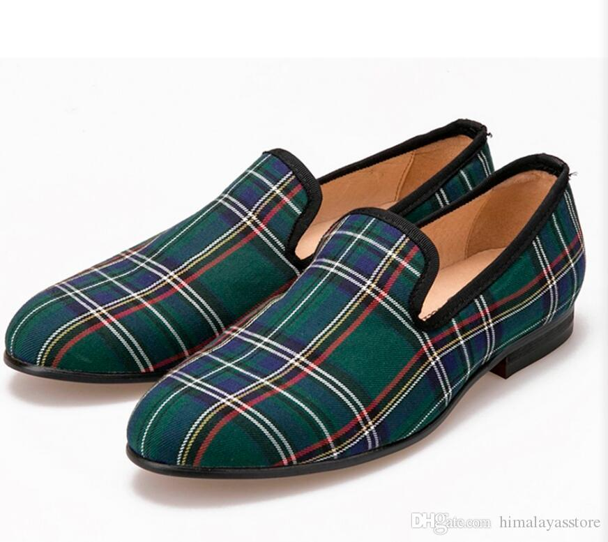7144a172be45 ... Scotch plaids Fabric Handmade Men shoes Red and Blue Casual loafers  Banquet and Prom Men Flats ...