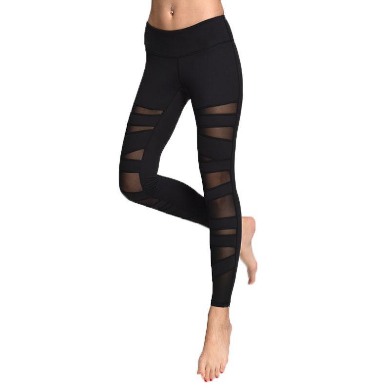 c053e4cdcce23 Acheter Vente Chaude Femmes Collants Courir Leggings Sport Pantalons Femmes  Femmes Gym Courir Mesh Workout Pantalon Fitness Yoga Pantalon De $40.72 Du  ...