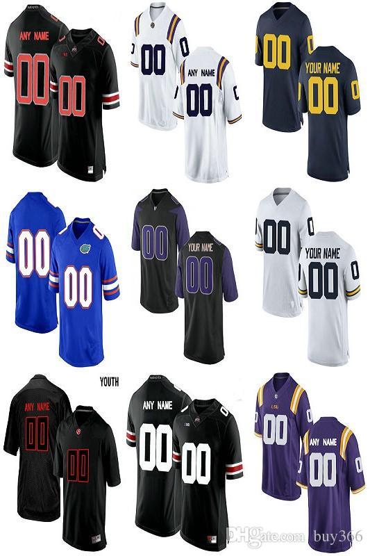 6940304b75bfb Compre Custom American Football Jerseys Ncaa Equipos Personalizados Fútbol  Jersey Cosido Cualquier Nombre Cualquier Número Mezclar Combinar Ordenar  Hombres ...