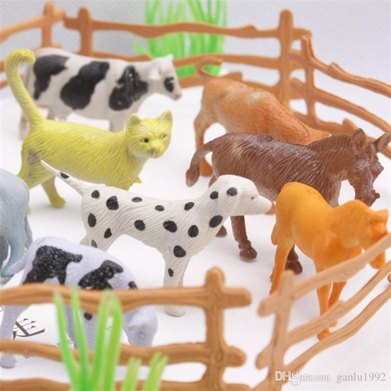 Animal Model Toys Poultry Family Farm Fence Simulation Suit 15 Animals Children Kid Puzzle Hot Sale 4 5db V