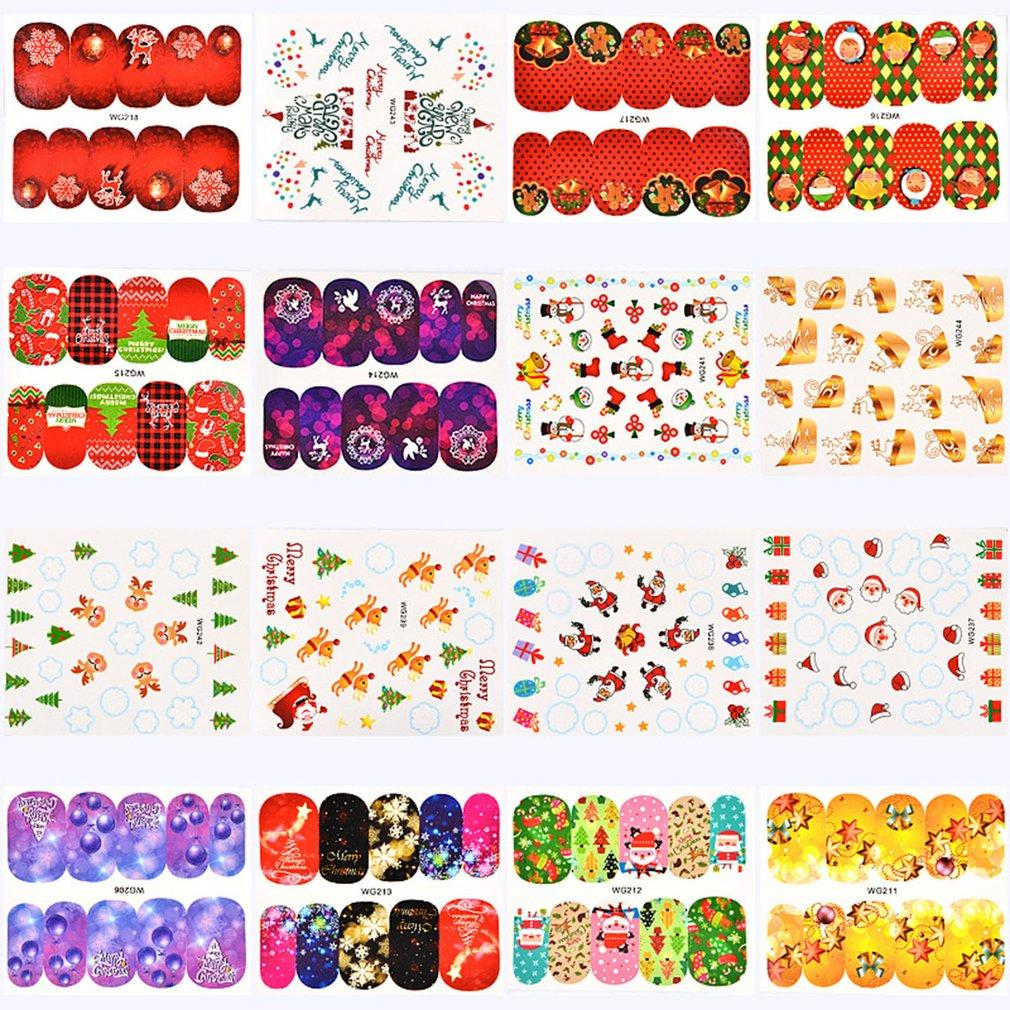 sweet christmas nail sticker stylish xmas printing paper nail art decoration diy nail decal tool fashion diy nail decals nail design stickers from jiami