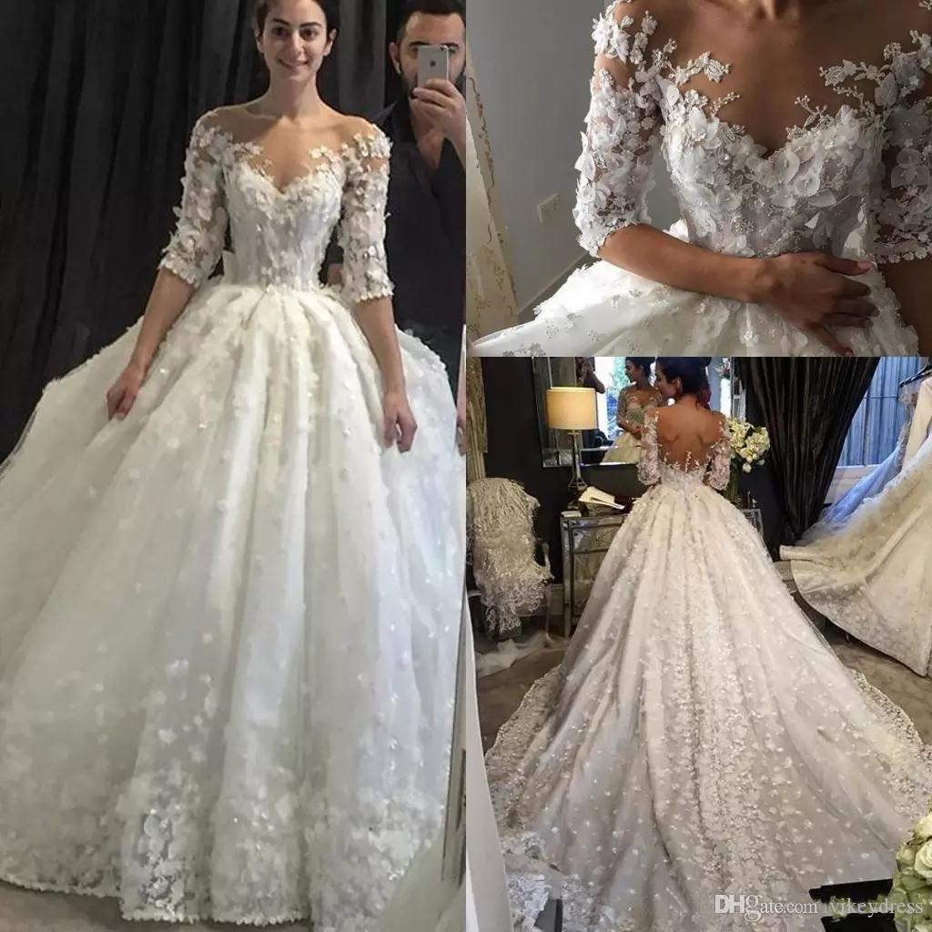 60a4ad3940e Discount Charming 1 2 Long Sleeves Lace Wedding Dresses 2019 With Applique  Beaded Off The Shoulder Sweep Train Wedding Bridal Gowns Wedding Dresses  Lace ...