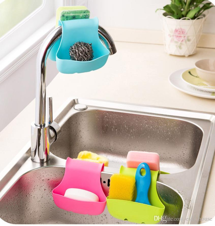 Double Sink Caddy Saddle Style Kitchen Organizer Storage Sponge Holder sink double plastic Rack variety of mix color delivery Free shipping