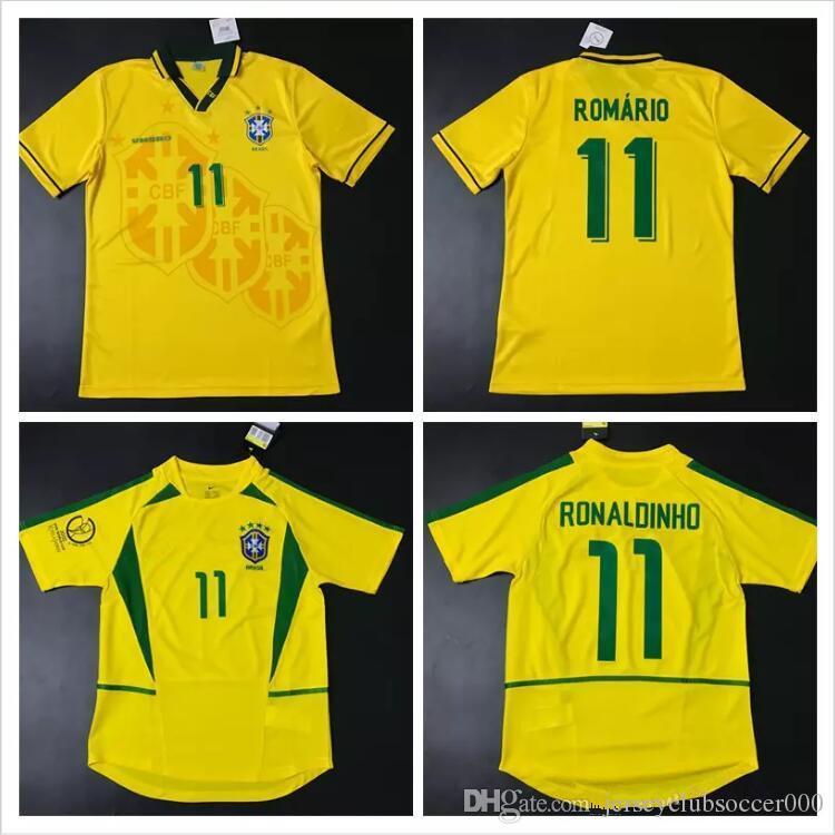 83aede5602 Compre Camisolas De Futebol 1994 1998 2002 Camisolas Brasileiras Rivaldo  Brasil Retro Classic Camisas Carlos Romario Ronaldo Ronaldinho Camisola De  ...