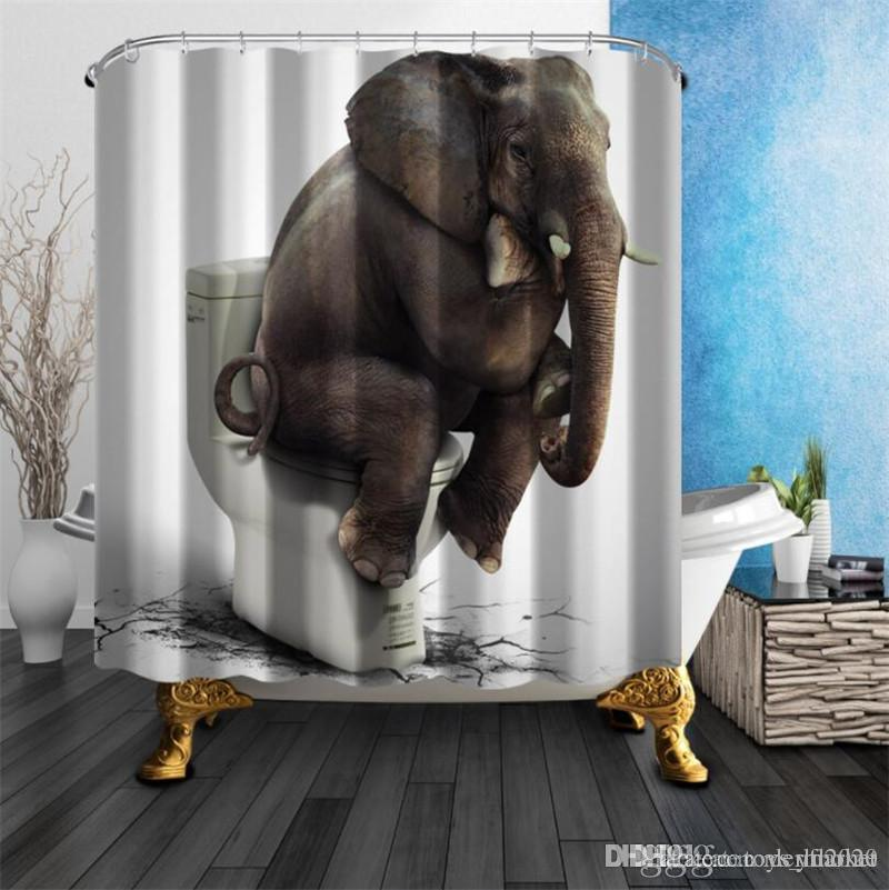 Shower Curtains Elephant Toilet Quality Polyester Fabric Waterproof Mildew Resistant Bathroom Supplies With Hooks