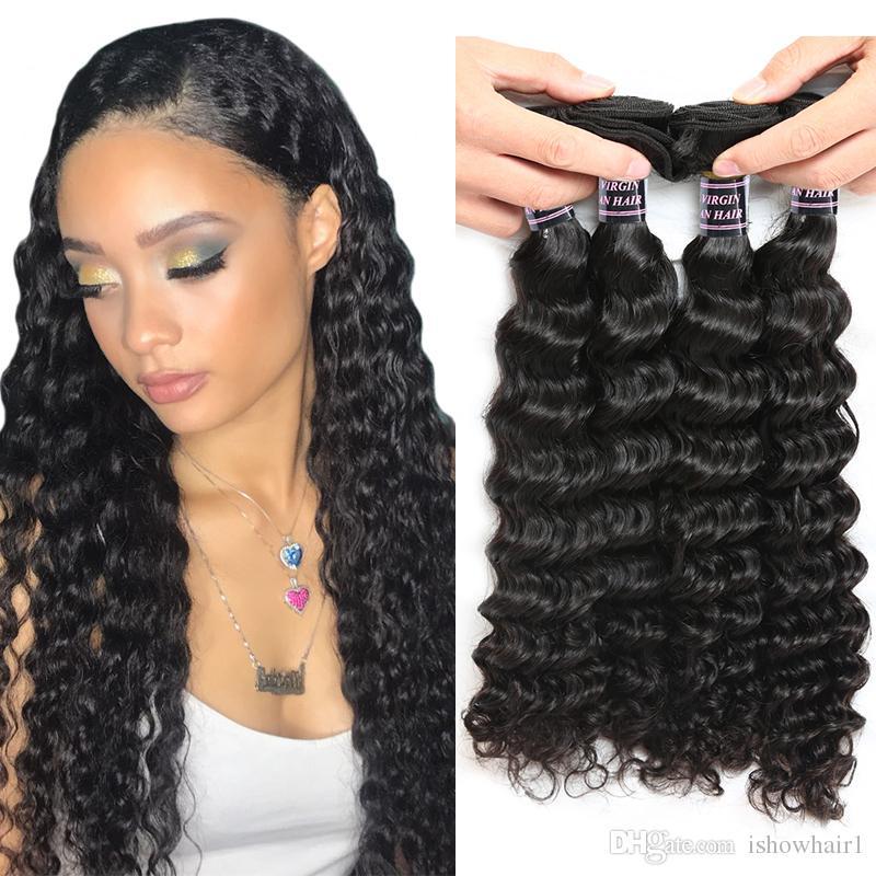 3/4 Bundles Useful Ishow Peruvian Deep Wave Hair 4 Bundles Human Hair Weave Extension Non Remy Hair Bundles Natural Color Can Be Dyed Hair Bundles Human Hair Weaves