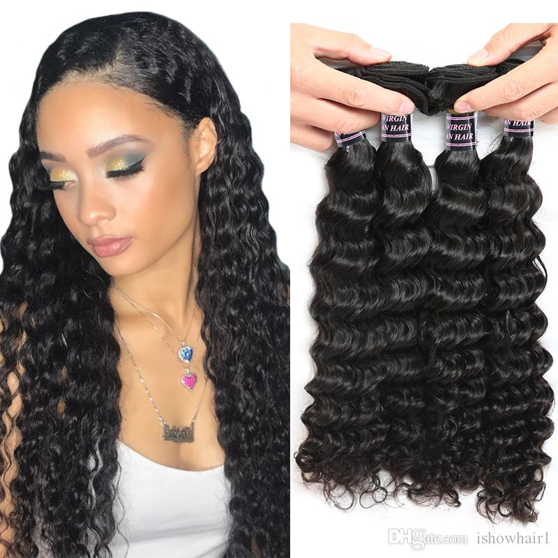 Ishow Human Hair 10a Brazilian Deep Wave Hair 4 Bundles Deals 100
