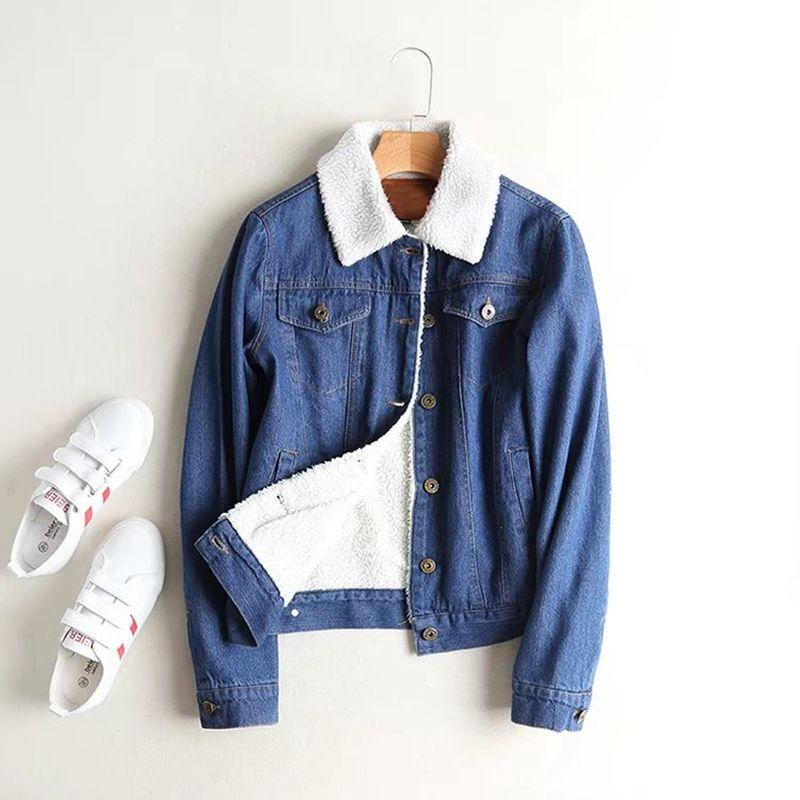 Autumn Warm Lamb Fur Denim Jacket Women Fashion Bomber Jacket Long Sleeve Washed Blue Jeans Coat With Full Lining Outerwear