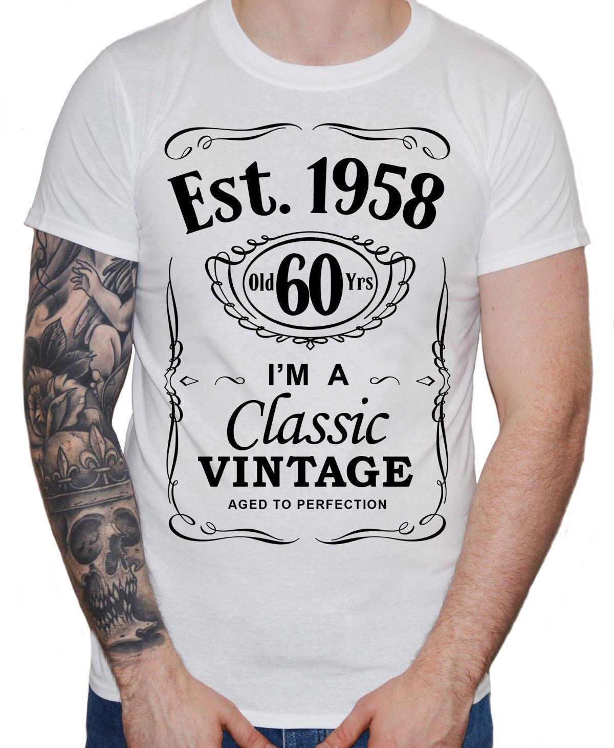 2018 new cool tee shirt men s 60th birthday t shirt est 1958 vintage