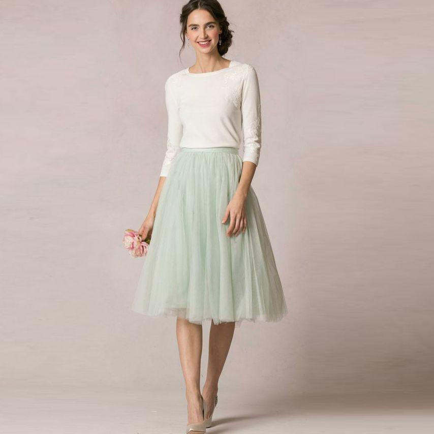 03ce2f9504 2019 Spring Summer Fresh 2016 Mint Green Soft Tulle Skirts For Bridesmaid To  Wedding Modest Tutu Skirt For Women Knee Length From Harrvey, $54.28 |  DHgate.