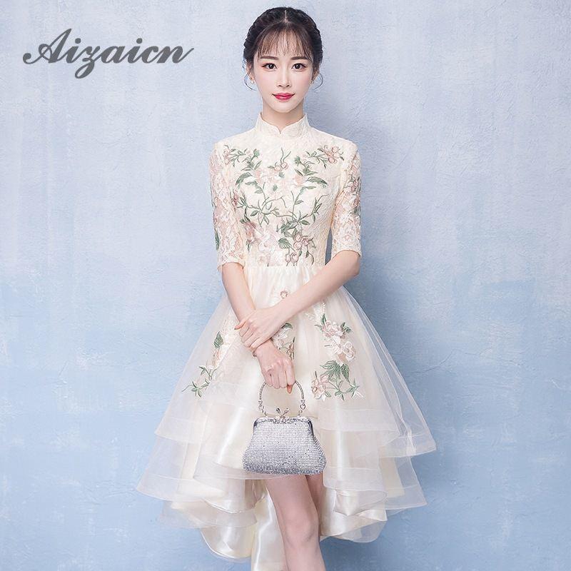 Cheongsam oriental Linglon 2019 Verano línea Retro de chinas tradicionales Qipao Una de Vestido de estilo de Mujeres 2018 de de Vestidos noche encaje honor dama BpTwSBxq
