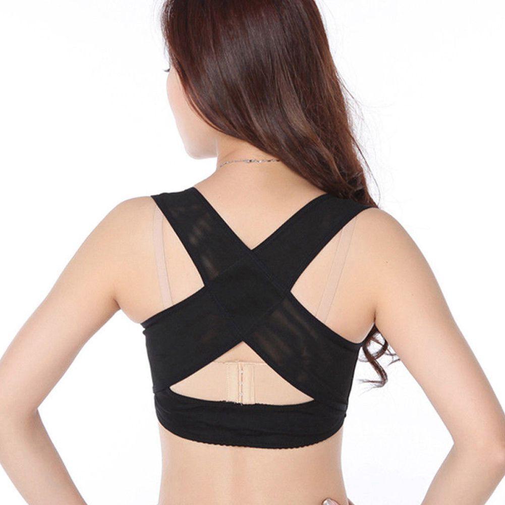 2019 ladies women adjustable shoulder back posture corrector chest brace support belt black from neyei 34 43 dhgate com