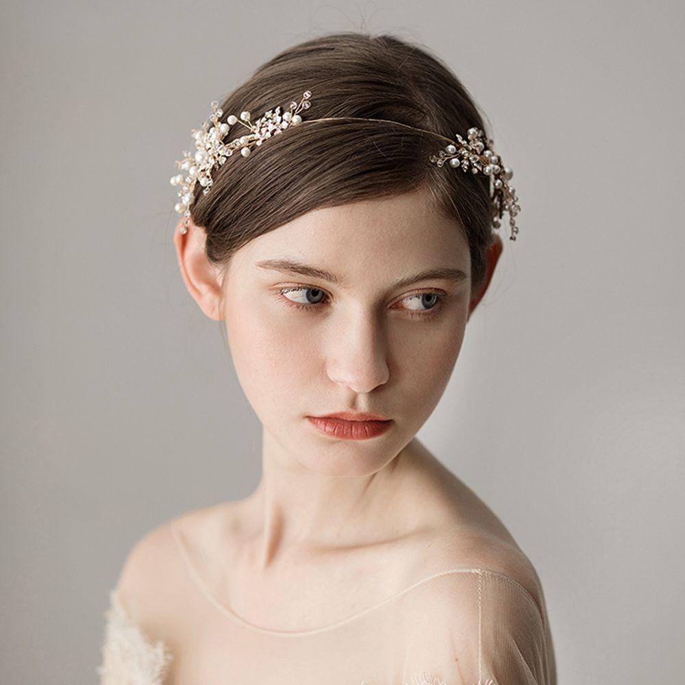 Luxury Gold Rhinestone Flower Headpiece Wedding Hair Accessories