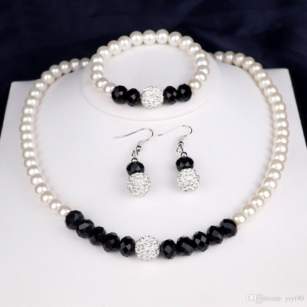 Fashion Ball Faux Pearl Ball Rhinestone Alloy Bracelet Necklace Earrings Sets Women Girl's Engagement Gift Jewelry