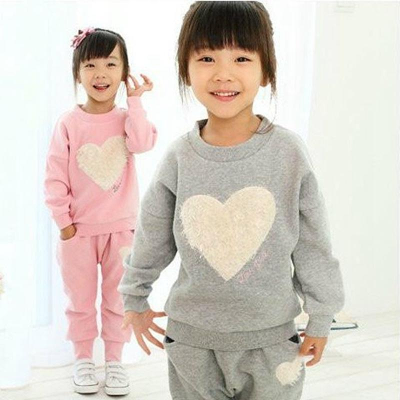 9ee86048859 2019 2018 Autumn New Girls Suits Long Sleeved Cozy Shirt + Pants Suit Pink  Love Heartshaped Kids Clothes Casual Sports Suit Y18102407 From Gou07
